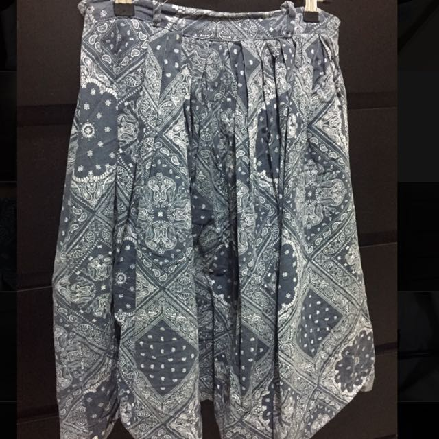 Blue High Waisted Patterned Skirt