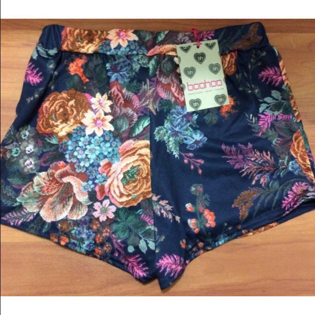Boohoo Brocade Print Floral Shorts/skort