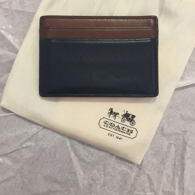 Coach Card Holder (navy & brown)