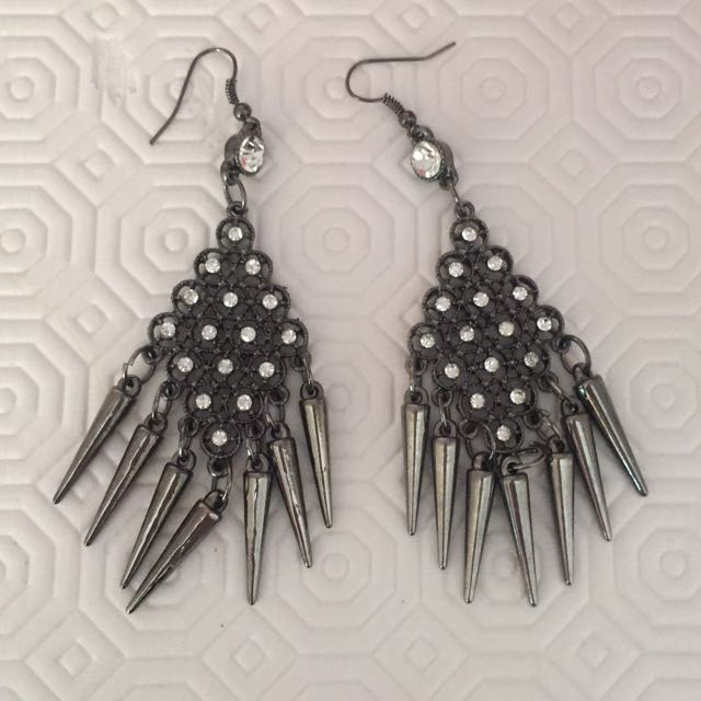 Dark Silver/Gunmetal Dangly Earrings