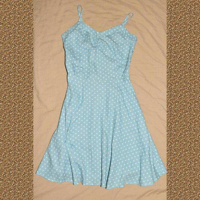Dress (Light Blue) Polka White