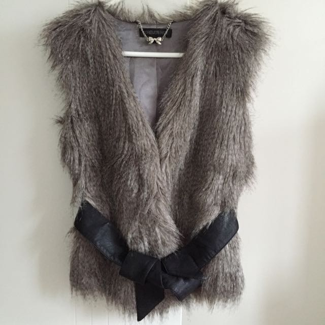 Forever New Fur Vest With Leather Belt