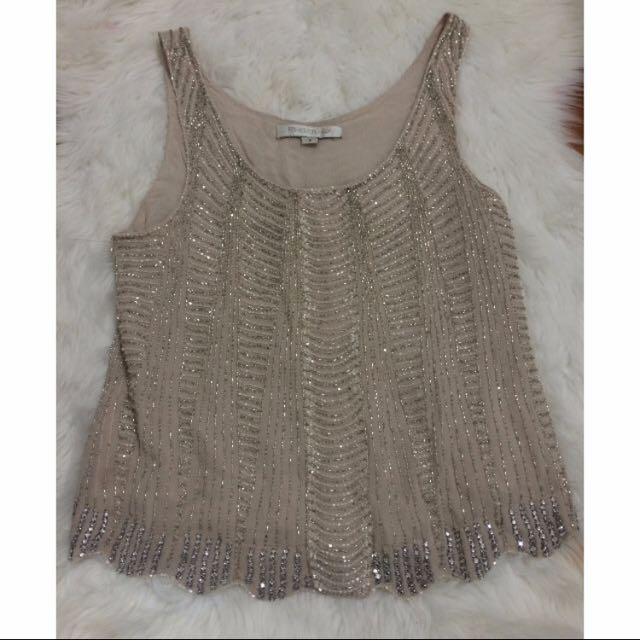 Forever New Sequin Singlet With Scalloped Hem