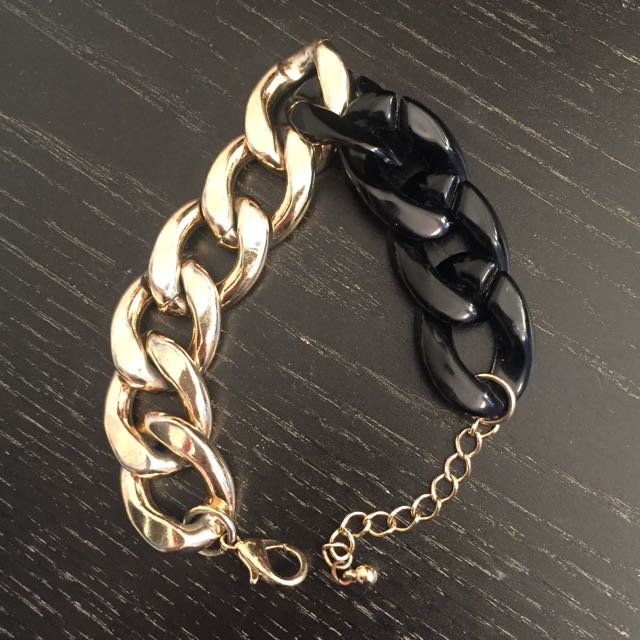 Gold and Black Chain Bracelet