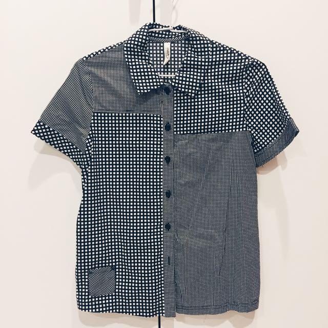 GOZO滿版格子幾何襯衫