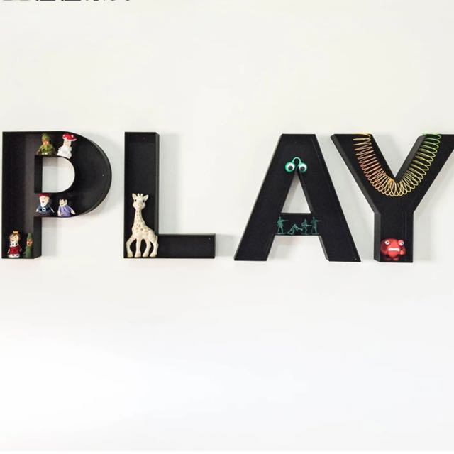 Retro Industrial Vintage Letters Of The Alphabet Wall Display Rack Shelf