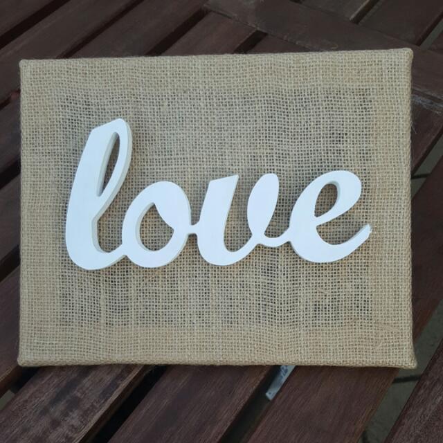 Handmade Burlap Canvas Love Sign Homeware