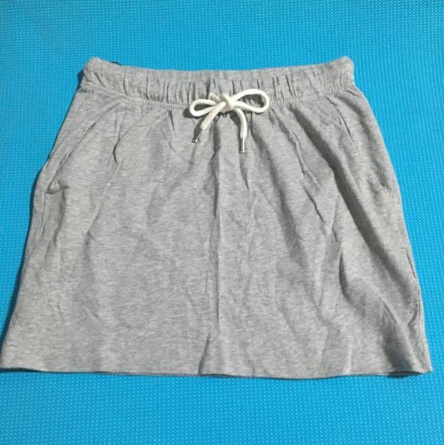 H&M麻灰棉短裙
