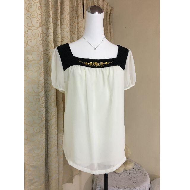 專櫃品牌IRIS艾莉詩 寶石雪紡寬鬆上衣L號‧象牙白