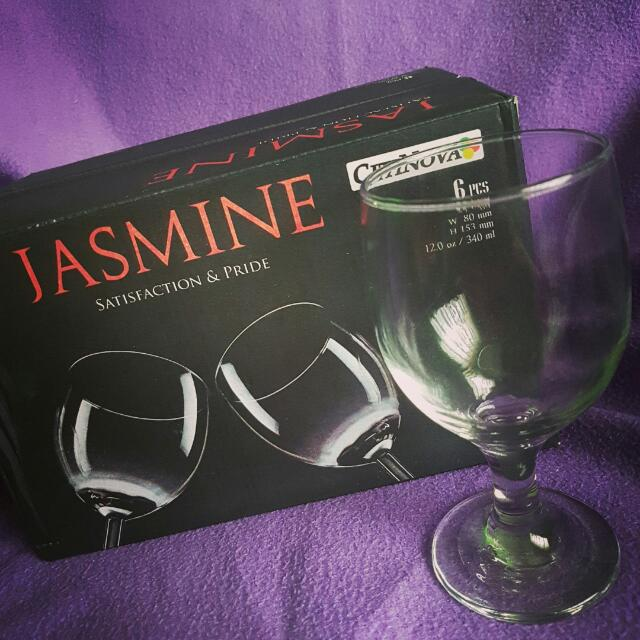 Jasmine Wine Glasses Originally set of 6; but only 5pcs available for sale (never been used)