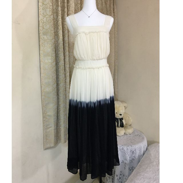 歐美品牌JOAN&DAVID 100%絲質優雅拼色長洋38號~很美
