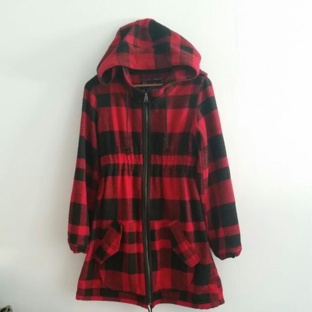 Ladies Red Hooded Tartan Jacket. Size XS.
