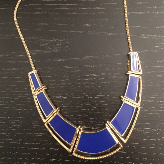 Large Royal Blue and Gold Statement Necklace