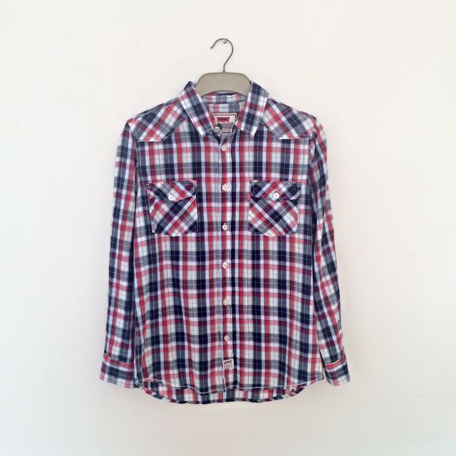 Levi's Men's Shirt Navy Blue Red