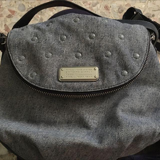 64d5faba5e2b Marc by Marc Jacobs New Q Suede Denim Studs Natasha Crossbody Bag ...
