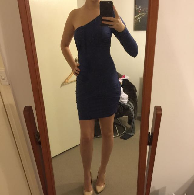 Navy One Sleeved Dress