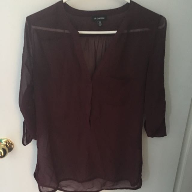 Sheer Maroon Button Up Top