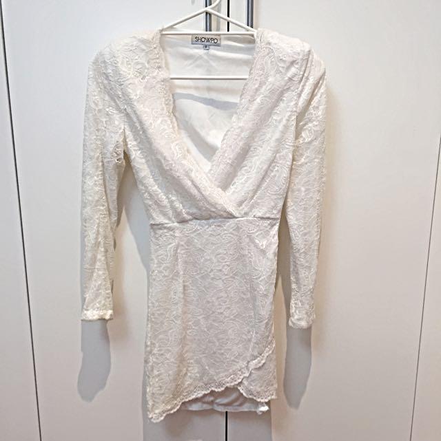 Showpo Size 8 Blair in White Lace