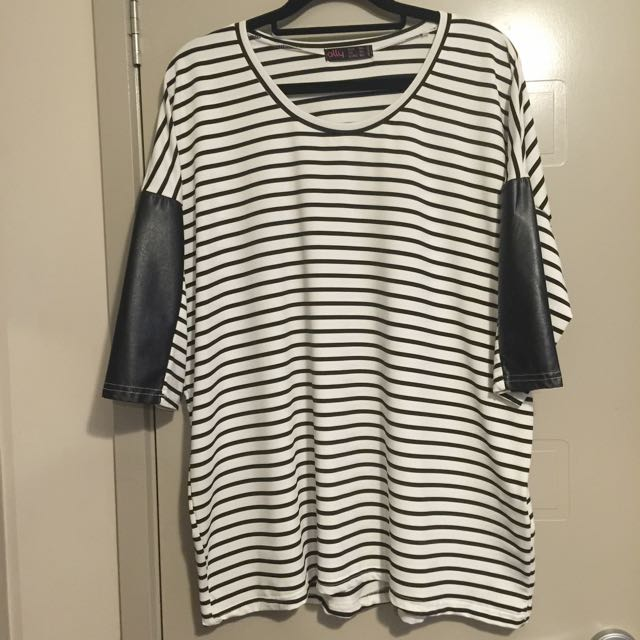 Size M/L Striped With Faux Leather Accents Top From Ally Hardly Worn