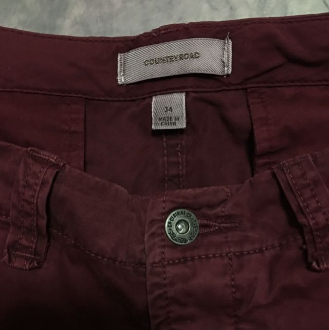 Slim Fit Burgundy Chinos