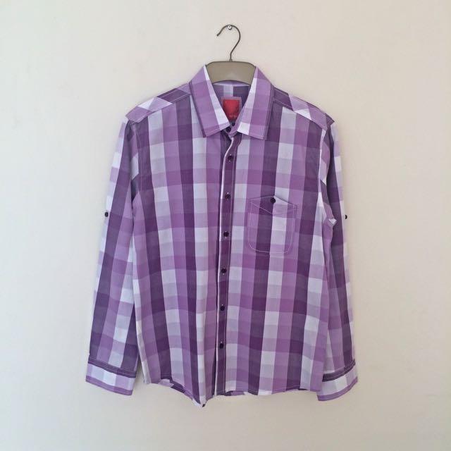 SNP Men's Shirt Purple White