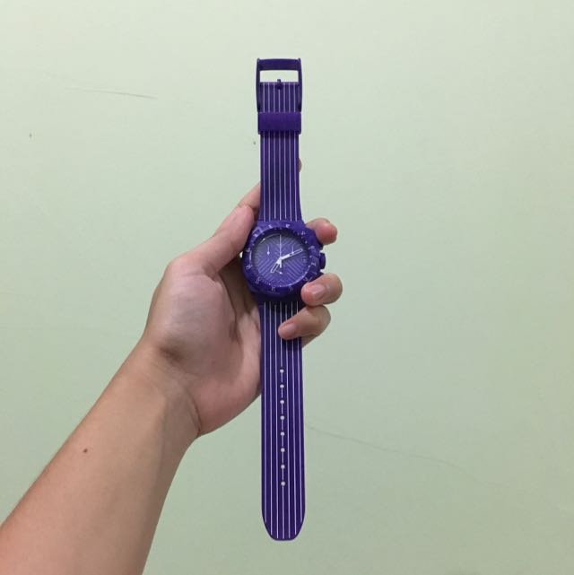 SWATCH Purple Striped Watch