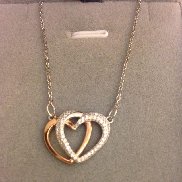 全新雙心雙色鑽項鍊,純銀