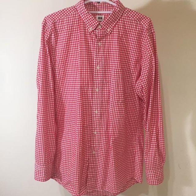 Uniqlo 紅格襯衫