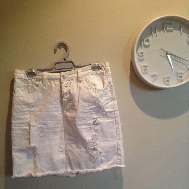 White Ripped Skirt With Back Split