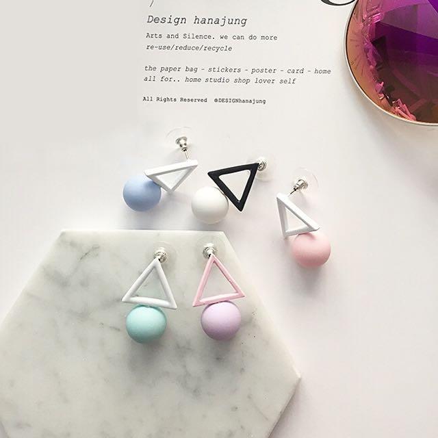 韓國優雅氣質簍空三角形x圓形/馬卡龍色調粉嫩耳環