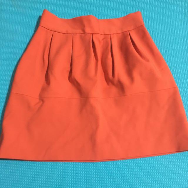 Zara 西裝料橘紅花苞裙