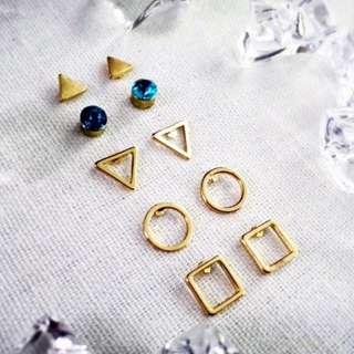 幾何 三角 寶石 金屬 水鑽 五對 耳環 組 $130