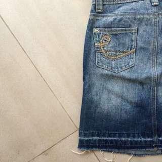 Distress Denim Skirt