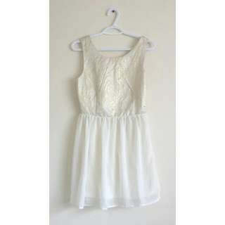 Ivory and Gold Dress (Small)