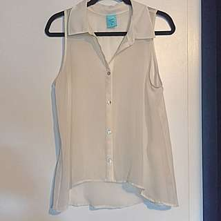 SHEAR White Button-up Tank Top