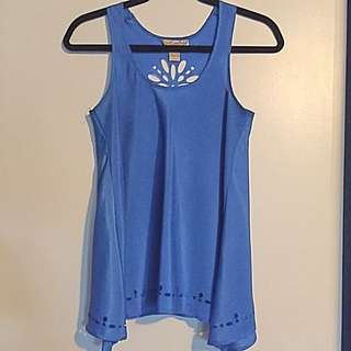 Blue Cut-Out Tank Top