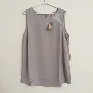 BRAND NEW Grey And White Colour block Tank Top