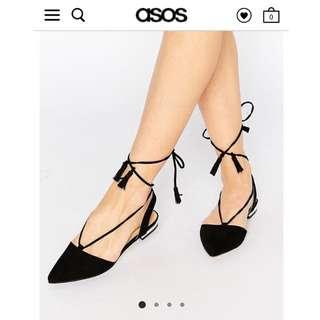 🚚 Asos尖頭綁帶平底鞋