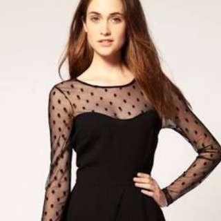 ASOS Mesh Sleeve Black Lace Dress