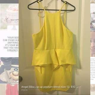 Yellow Peplum Dress. Size 12.