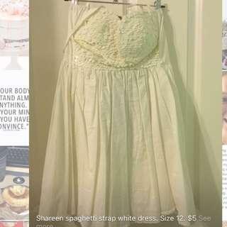 White Spaghetti Strap Dress. Size 12.