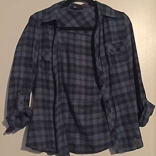 Blue/Black FOREVER 21 PLAID FLANNEL