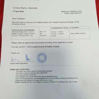 Raffles Hospital Deluxe Health Screening Package