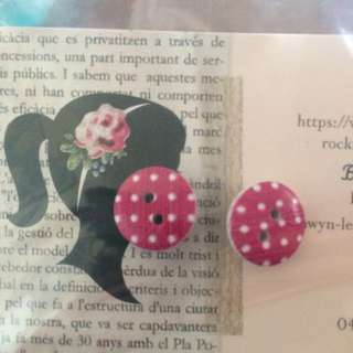 Pink With White Dots Earrings