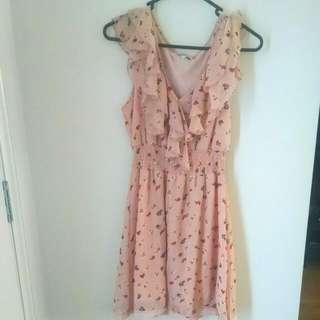 Peach Floral Dress Sz10