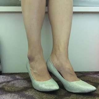 閃亮亮✨銀蔥 細跟 低跟鞋