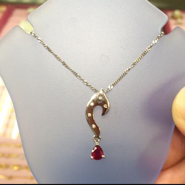 [銀樓]全新14白k紅寶石碎鑽項鍊