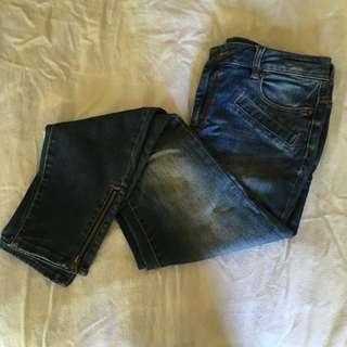 Witchery Zip Detail Blue Skinny Jean Size 12