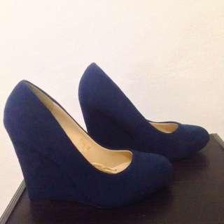 Dark blue, Suede Wedges