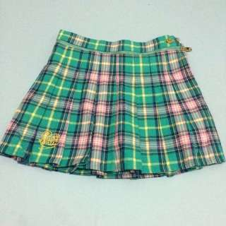 MJR 綠色格子百折裙 S